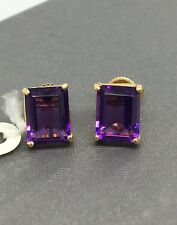 14k Yellow Gold Amethyst Emerald Cut Stud Earrings