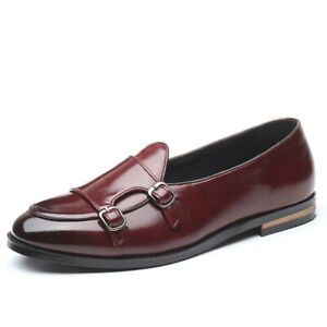 British Style Men Pointed Toe Loafers Buckle Strap Flat Casual Comfort Shoes New