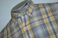 9497-a Mens Brooks Brothers Dress Shirt Size Large Yellow Blue Plaids