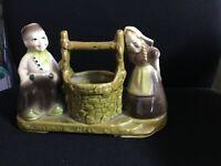 Ceramic dutch boy and girl w/wishing well
