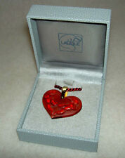 Authentic LALIQUE France Red Heart Angel Cherub Crystal Pendant Necklace NIB !