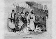 Stampa antica FUMATORI PIPA ISTANBUL Costantinopoli Turkey 1840 Old Print