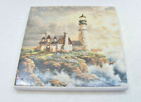 "Stone Art ~Absorbent Stone Coasters ""Lighthouse Sea Scene""  Set of 4, NEW"