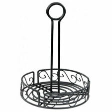 "8"" Black Round Wire Condiment Holder Display Table Storage Caddy Cafe Restaurant"