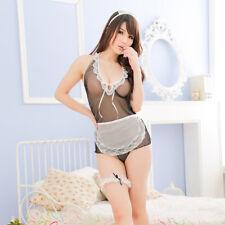 74e8648fd76 EG  Women Erotic Sexy Lace Apron Thong Nightwear Sheer Sleepwear Costume  Set Sal