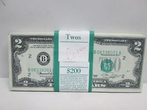 ORIGINAL BANK STRAP OF 200 $2 FEDERAL RESERVE NOTES- UNC & CONSECUTIVE