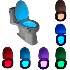 LED Sensor Motion Activated Bathroom Night Light Toilet Seat Bowl Battery Glow