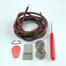15 Parts Leather Belt+Needles+Bobbin+Awl+Thread Guide For Singer Sewing Machine