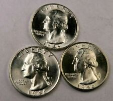 1946 P+D+S Washington Quarter Lot // Gem BU++ // 90% Silver //. 3 Coins