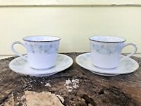 NORITAKE China BLUE CHARM Tea Cups and Saucers Set Of 2 #6978