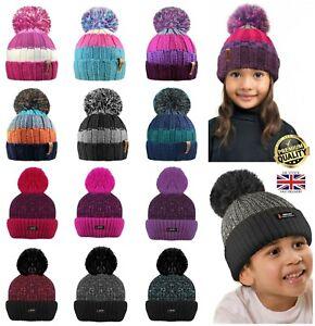 New Kids Girls Boys Knit Pom Pom Winter Stripe Marl Beanie Bobble Hat