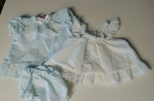 Vintage Baby Dress And Pinafore & Bloomers Evy Polka Dot White/Lt. Blue 0-6 Mos