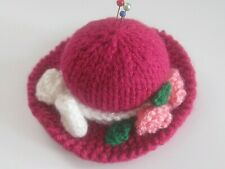 EASTER HAND KNITTED  DARK PINK BONNET PIN CUSHION. SEWING, CRAFTS, RETRO.