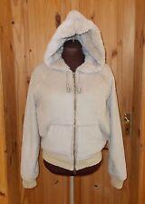NEXT light beige oatmeal faux suede sheepskin hooded winter coat jacket 14 42