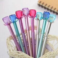 Roses Flower Bloom Diamond Head Crystal Ball Pen Stationery Pens Kids Gifts