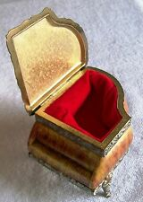Vintage Japan Porcelain & Brass Piano Shaped Jewelry Box, W/ Red Velvet Lining