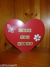 PERSONLISED 'LOVE YOU MUMMY' WOODEN RED HEART SCRABBLE LETTERS GIFT -MOTHERS DAY