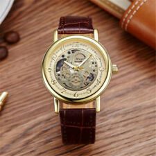 MUGE Men's Gold Watch Mechanical Brown Leather Business Casual Luxury Quartz W1G