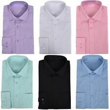 Mens Formal Shirts Work Wedding Formal Dress Long Sleeves Collar Plain Shirt