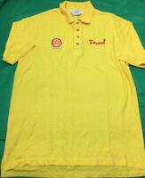 VTG Shell V-Power Polo Shirt Men's SZ L Yellow Big Logo's Cotton Blend Rare NWOT