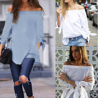 Elegant Women Off Shoulder Casual Long Sleeve Top T-Shirt Bow Knotted Blouse New