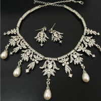 New Faux Pearl Crystal Angel Pendent Necklace Earring Jewelry Set Wedding