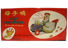 Vintage Red China Hen & Chickens ME 603 Battery Operated Tin Mint w/Box Works