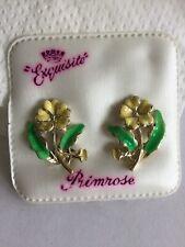 Vintage Exquisite Earrings, Primrose Birthday, 1950s Hand Painted enamel, signed