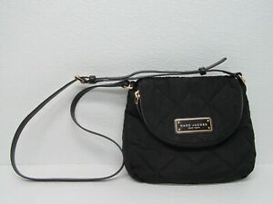 Marc Jacobs Black Quilted Nylon Mini Messenger Bag Purse Crossbody Bag M0011379