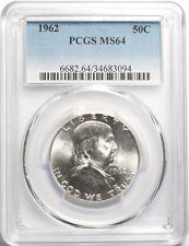 lot of (6) SIX 1962 50C Silver Franklin Half Dollar PCGS MS64