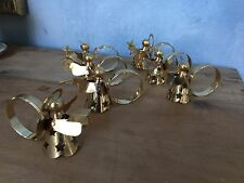 Set 6 Gold Tone Angel Napkin Rings Holders Horn Cymbal Candle Christmas + 1 FREE