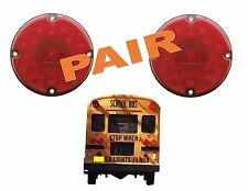 "RED LED 7"" Round Light Large Bus Size 17 LED's Stop Tail Turn 1 PAIR"