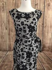Cynthia Steffe Womens Black White Floral Striped Cap Sleeve Sheath Dress USA 4