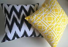 2 x Yellow, Black, White Cushion Covers SLIGHT DEFECTS Zig Zag Chevron IKAT