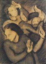 Carl HOFER (1878-1955) - Kohlezeichnung: DREI FRAUEN IN PANISCHER ABWEHRHALTUNG