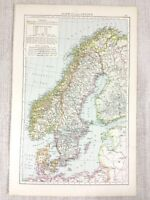 1898 Antik Map Of Norwegen Schweden Die Baltic Sea Deutsche Ozean Alte 19th