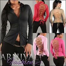 SEXY WOMEN LONG SLEEVE BLOUSE TOP XS S M L LADIES LACE-UP STRAPPY SHIRT HOT AU