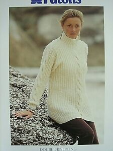 PATONS 5201 - LADIES DK RIB & CABLE TUNIC SWEATER KNITTING PATTERN 30/40in