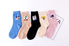 Ladies Womens Girls Fashion With Dots Dotty Socks Comfortable Cat Animal Pattern 5 X Mixed Colours - 6183