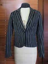 H&M Black White Striped Tailored Blazer Jacket Womens Juniors 2 XS Goth Punk