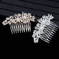 ITS- KQ_ Bridal Wedding Flower Rhinestone Faux Pearl Hair Comb Jewelry Hairpin C