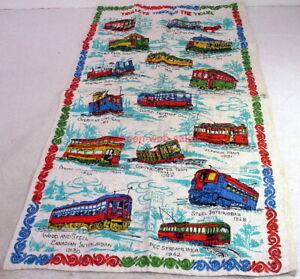 Linen Tea Towel~Trolleys Through The Years~c1970s~Seashore,Edaville,Cable Car