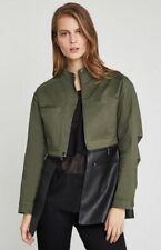 NWT BCBG Women Military Green Jacket ENW4174659 Faux Leather Medium MSRP $348