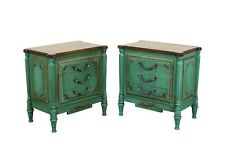Vintage Neoclassical Style Green Nightstands - a Pair