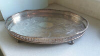 LOVELY ORNATE VINTAGE SILVER PLATED GALLERIED SERVING TRAY  CLAW FEET -18 X 12 ""