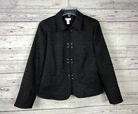 Chicos Women's Black Textured Hook Closure Lined Blazer / Jacket Size 0 (XS 4/6)
