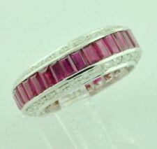 14k White gold Natural Baguette Ruby & Diamond Ring Eternity  July Birthstone