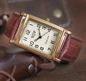 Eriksen Mens Gold Analog Vintage Retro Dress Watch Large MCGL
