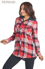Women shirt top button down+ Zip+hood Plaid checkers ci sono cavalini TP148 New