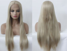 """AU 24"""" Straight Ash Blonde Handtied GlueLess Lace Front Wig Synthetic Fiber Hair"""